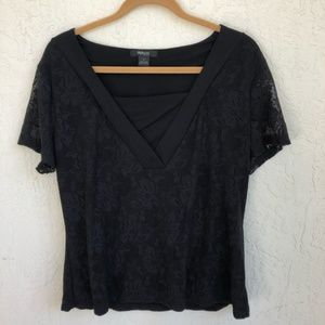 Style & Co Plus 1X Black Lace Top Short Sleeves
